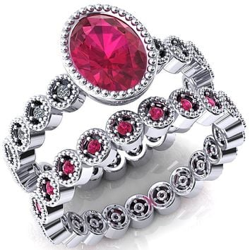 Borea Oval Lab-Created Ruby Full Bezel Milgrain Diamond Accent Full Eternity Ring