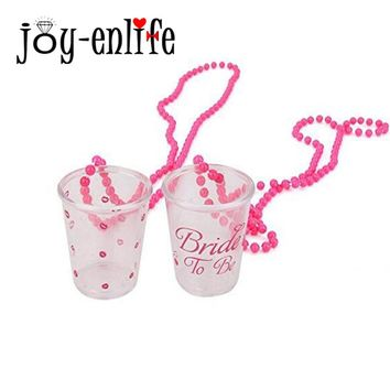 JOY-ENLIFE 2pcs/set  Hen Night Bride To Be/Lip  Pattern Plastic Cup On Beaded Chain Necklace Bachelorette Party Bridal Shower