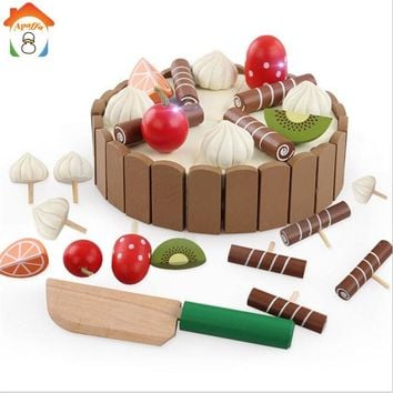 Baby Toy Kitchen Miniature Chocolate Fruit Cake Educational Toys Classic Cutting Magnetic Food Pretend Play WoodenToy