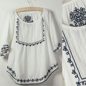 2018 Hot Sale Fashionh Vintage EMBROIDERED boho HIPPIE ethnic Tent mini tops white blouse,women clothing Free Shipping