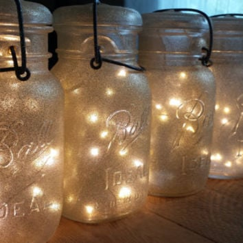 Indoor Outdoor Vintage Gold Glitter Sparkle Mason Jar Battery Operated Fairy String Lights; Vintage Mason Jar Light for Decor, Dine, Wedding