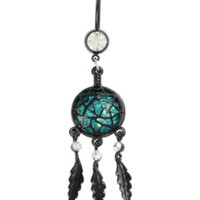 14G Steel Black Opal Dreamcatcher Navel Barbell