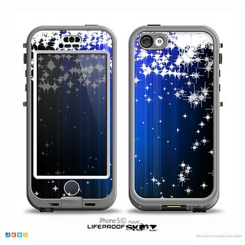 The Blue & White Rain Shimmer Strips Skin for the iPhone 5c nüüd LifeProof Case