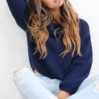 Navy High Roll Neck Chunky Knit Sweater