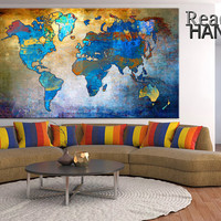 Print on canvas, World map, canvas art print, canvas art wall, canvas art print, color map, office decor, canvas in the room, wall decor