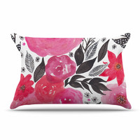 "Li Zamperini ""Pink Garden"" Rose Floral Pillow Case"