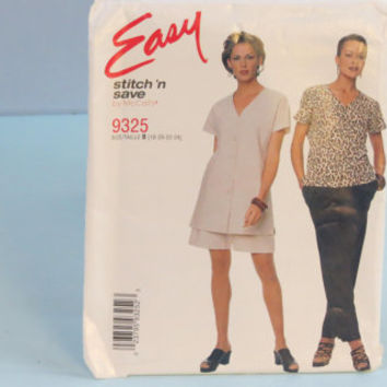 McCall's Easy stitch n save sewing pattern 9325 women's top pants shorts size 18-20-22-24