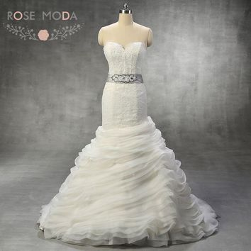 Eyelash Laced Sweetheart Neck Chantilly LaceTrumpet Wedding Dress with Ruffled Skirt Detachable SIlver Crystal Sash Real Photos