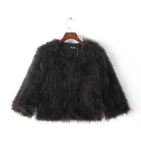 Black Faux Fur Long-Sleeve Coat