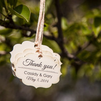 50 Thank you Favor Tag Personalized with Names and Date QTY of 50