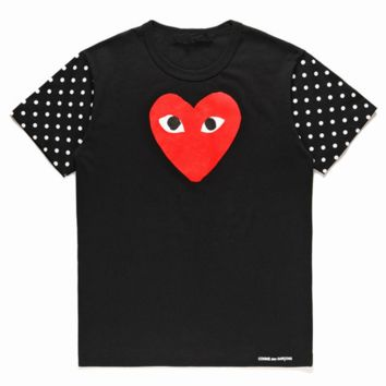 PLAY tide brand men and women wave point short sleeve big red heart round neck T-shirt Black