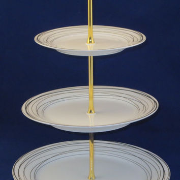 3 Tier Plate Stand Elegant Silver and Gold Trimmed- Serve: Cake Cookie Dessert Candy; Display Jewelry Ornaments Soaps Decor