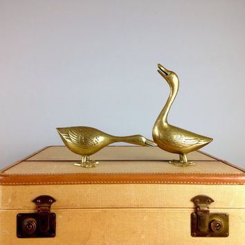 Brass Ducks, Mid Century Brass Duck Set, Home Decor, Hunting Cabin, Woodland Creature, Brass Figurine