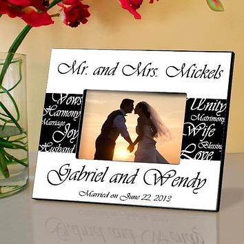 Personalized Frame - Mr. and Mrs. Wedding Picture Engraved Free