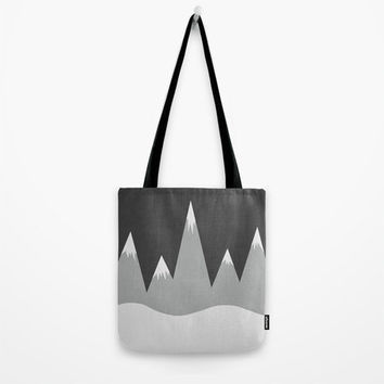 Mountain Peaks Tote Bag - Grocery Bag - Beach Bag - Book Bag - Original Drawing Mountians - Made to Order