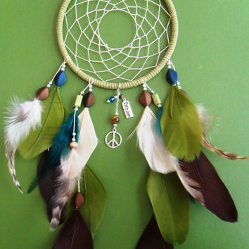 Dream Catcher - Modern - Peace - Boho - Brown, Blue, Green