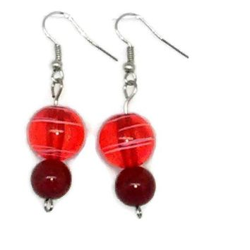 Red Striped Round with Solid Red Round Beaded Earrings