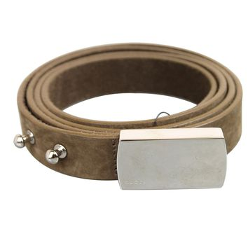 Gucci Women's Brown Suede Engraved Logo Plaque Buckle Belt 95/38 251633 2814