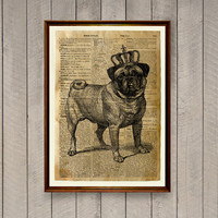 Pug print Dog poster Lodge decor Dictionary page WA724
