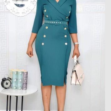 New Lake Blue Belt Turndown Collar Double Breasted Double Slit Office Worker Midi Dress