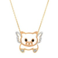 Emitations Trudy's Flying Pig Necklace, Rose Gold