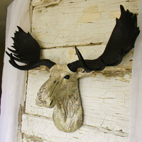 Faux Moose Head, Faux Taxidermy, Fake Moose Head, Fake Animal Heads, Painted Animal Head, Animal Wall Mount, Cabin Decor, Gifts for him