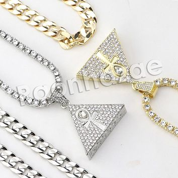 "Iced Out Micro Pave Tri Ankh Cross Pendant w/ 18"" Tennis / 30"" Cuban Chain X5"