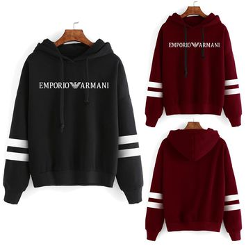 """Armani"" Unisex Sport Casual Multicolor Stripe Logo Letter Print Long Sleeve Hooded Sweater Couple Sweatshirt Hoodie Tops"