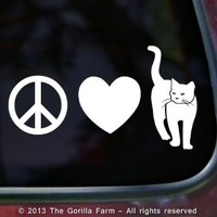 PEACE LOVE CAT Vinyl Decal Bumper Sticker Window Car Laptop Wall Kitten Kitty WHITE