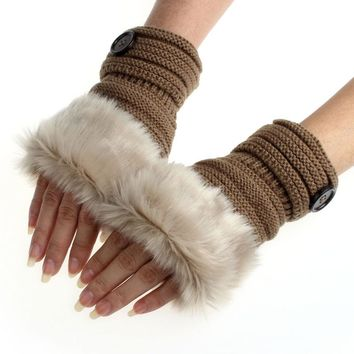 2017 Winter Gloves Female Faux Rabbit Fur Knitted Fingerless Gloves Women Solid Wrist Warmer Guantes Mittes