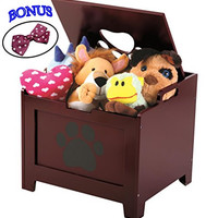 Wooden Toy Box. Toy Storage Trunk For Kids, Baby, Pet. Kid And Pet Treasure Chest, Storage Furniture. Also For Outdoor, Under Bed Storage.