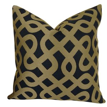 Plutus Graphic Maze Handmade Double Sided Queen Throw Pillow