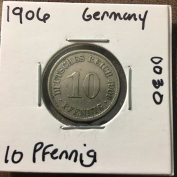 1906 German Empire 10 Pfennig Coin 0030