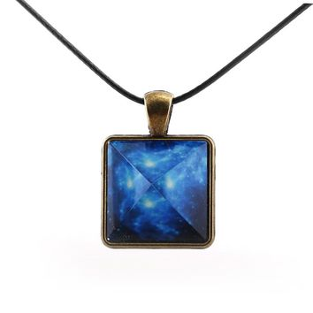 Original Blue Galaxy Pyramids Necklace Vintage Glowing Jewelry Love Pendant for Couples Lovers Glow In the Dark Women Men Gift