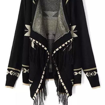 Black Geometric Print Fringed Asymmetrical Long Sleeve Cardigan