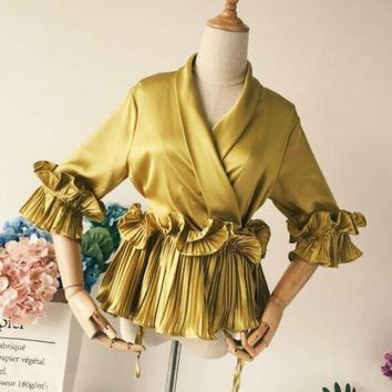Spring Women V-Neck Pleated Treated Lace Chiffon Shirt 3D Flowers Bow Satin Blouses ruffled Lace Tops Spring