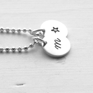 Initial Necklace, Small Star Necklace, All Letters Available, Sterling Silver Jewelry, Letter m Necklace, Hand Stamped Jewelry, Monogram, m