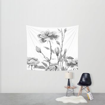 black and white roses Wall Tapestry by Color And Color