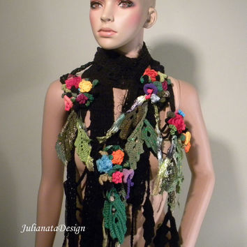 ELEGANT SCARF/SHOULDERETTE - Wearable Fiber Art, Extra Long, Freeform Crocheted Flowers/Leaves