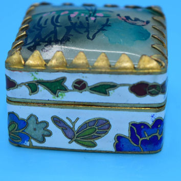 Cloisonne Miniature Trinket Box Vintage Brass Hinged Blue Enamel Mirrored Pill Box Purse Travel Pill Container Small Jewelry Holder