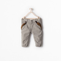 Lined corduroy trousers with suspenders