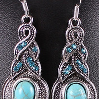 hot sale new fashion  Vintage  Women trendy  Jewelry Classic  Elegant  Tibet Silver Dangle Earrings With Turquoise Decoration about 4*1.8cm  Earrings = 1958092612