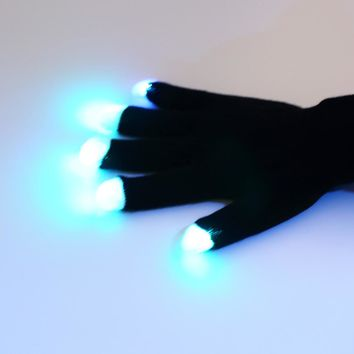 2017 New Arrival Home Use Flashing Fingertip Light 7 Mode LED Gloves Mittens Costumes Rave Party Skating Riding Decorations