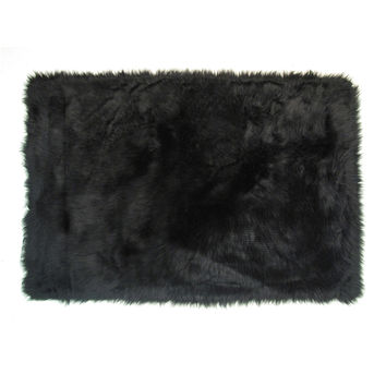 Fun Rugs Flokati Collection Black Area Rug