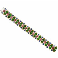 Buccellati Important Carved Jade Ruby Sapphire Gold Bracelet