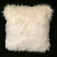 Off White Faux Fur Throw Pillow/Cushion Cover