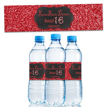 Personalized Sweet 16 Party Favor - Red Sweet 16 Water Bottle Labels - Crimson Red Sweet Sixteen - Party Decor - Personalized - Bling