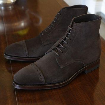 Wakeby Wolf Finesse Brown Ankle Cap Toe Lace Up Suede Boots