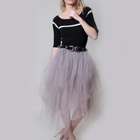 mesh tutu skirt, layered tulle skirt, wedding skirt, tutu skirt, classic skirt,grey tulle skirt, fluffy tulle skirt, adult tutu