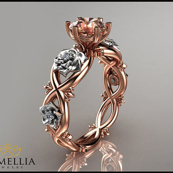 14K Rose Gold Morganite Ring,Unique Engagement ring,Flower Ring,Camellia Ring,Promise Rings,Ladys Jewelry,Engagment Rings,Two Tone Ring.